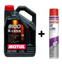 Motul 8100 X-Cess 5W-40 5Liter + Motul E.Z.Lube kenő spray 750ml