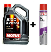 Motul 8100 X-Clean+ 5W-30 5liter + Motul E.Z.Lube kenő spray 750ml