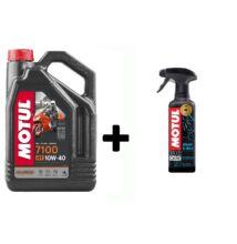 Motul 7100 10W-40 4T 4L +  Motul E1 Wash & Wax tisztító 400ml