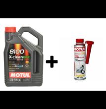 Motul 8100 X-Clean EFE 5w-30 4liter + Motul diesel system clean 300ml