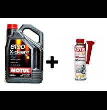 Motul 8100 X-Clean+ 5W-30 5liter + Motul diesel system clean 300ml
