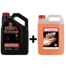 Motul 8100 Eco-clean 5w-30 5liter + Motul nyári bogároldós szélvédőmosó