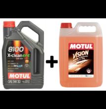 Motul 8100 X-Clean EFE 5w-30 4liter + Motul nyári bogároldós szélvédőmosó