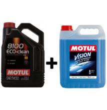 Motul 8100 Eco-clean 5w-30 5liter + Motul téli szélvédőmosó