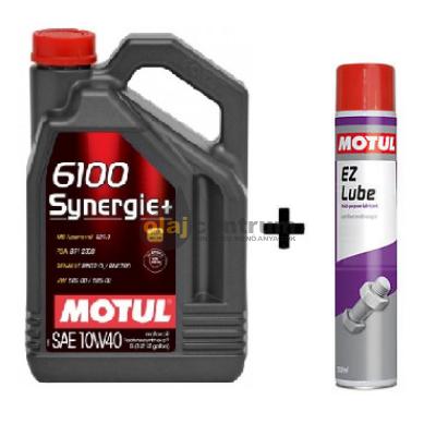 Motul 6100 Synergie+ 10W-40 5Liter + Motul E.Z.Lube kenő spray  750ml