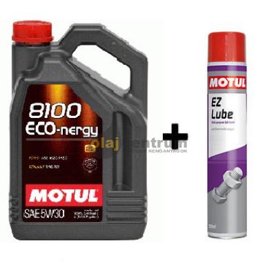 Motul 8100 Eco-Nergy 5W-30 5liter + Motul E.Z.Lube kenő spray 750ml