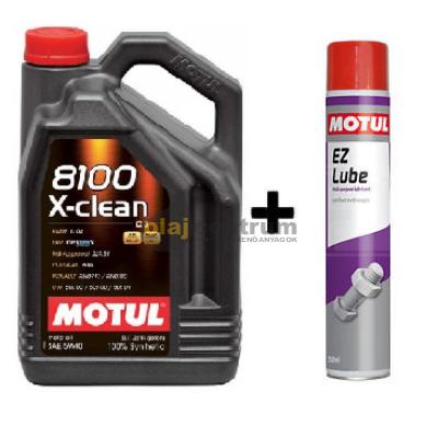 Motul 8100 X-Clean 5w-40 5liter + Motul E.Z.Lube kenő spray 750ml