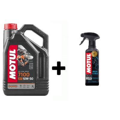 Motul 7100 10W-50 4T 4L +  Motul E1 Wash & Wax tisztító 400ml