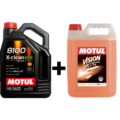 Motul 8100 X-Clean EFE 5w-30 5liter + Motul nyári bogároldós szélvédőmosó
