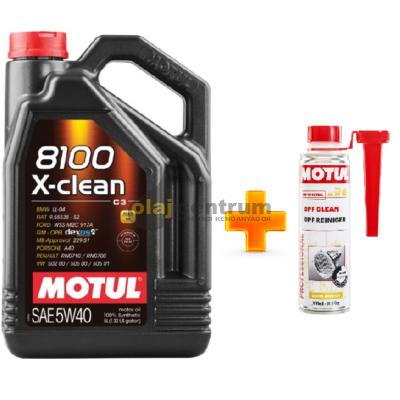 Motul 8100 X-Clean 5w-40 5liter+ MOTUL DPF CLEAN RÉSZECSKESZŰRŐ TISZTÍTÓ 300ML