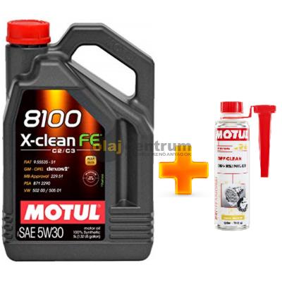 Motul 8100 X-Clean FE 5w-30 5liter+ MOTUL DPF CLEAN RÉSZECSKESZŰRŐ TISZTÍTÓ 300ML